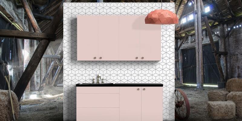 Rosa kök och köksluckor